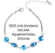 S925 Link Armband mit AAA Aquamarinblau Zirkonia
