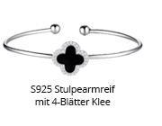 S925 Stulpearmreif mit 4-Blätter Klee