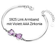 S925 Link Armband mit Violett AAA Zirkonia