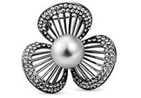 Vintage Brosche mit Muschel Perlen