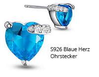 S926 Blaue Herz Ohrstecker