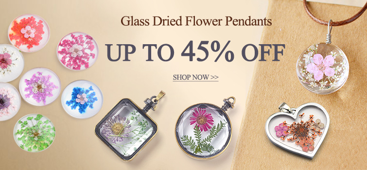 Glass Dried Flower Pendants UP TO 45% OFF